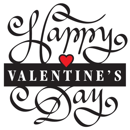 happy valentine day hand lettering Stock Vector - 17337533
