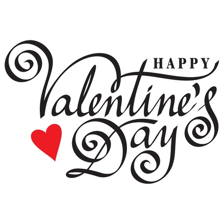 happy valentine day hand lettering Stock Vector - 17360539