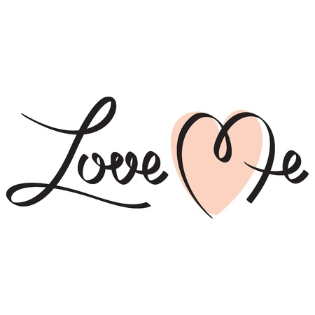 love me hand lettering Stock Vector - 17438884