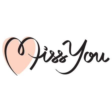 miss you hand lettering Stock Vector - 17438883