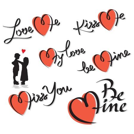 valentine hand lettering set Illustration