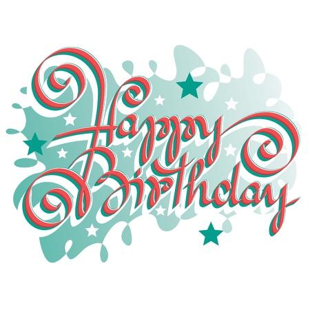 HAPPY BIRTHDAY hand lettering Stock Vector - 17724434