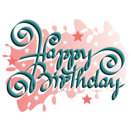 happy birthday text: HAPPY BIRTHDAY hand lettering