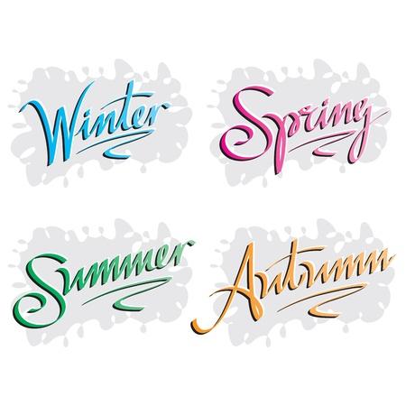 inscription: season inscription, winter, spring, summer, autumn Illustration