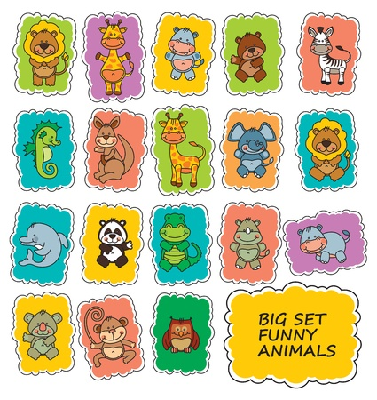 set funny cartoon animals Vector
