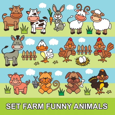 set farm funny cartoon animals Vector