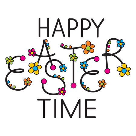 happy Easter time headline Vector