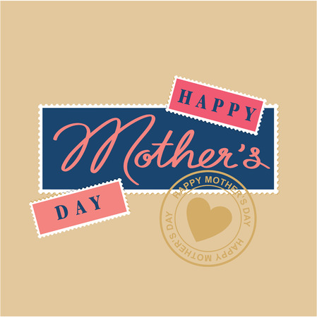 postmark: happy mothers day hand lettering, postage stamp and postmark