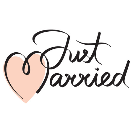 hand lettering: just married hand lettering calligraphy headline