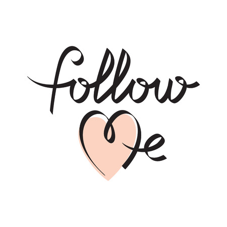 follow me hand lettering handmade calligraphy, vector
