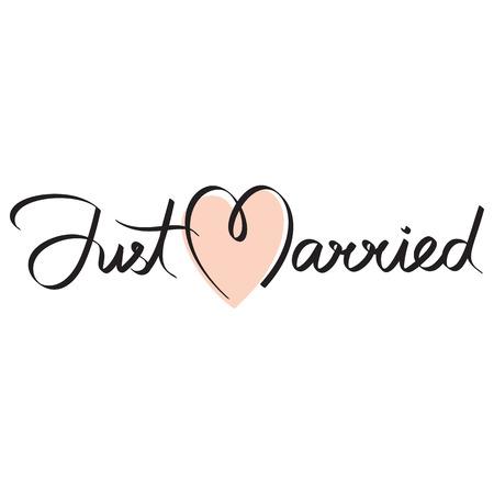 recien casados: just married titular caligrafía letras de la mano Vectores