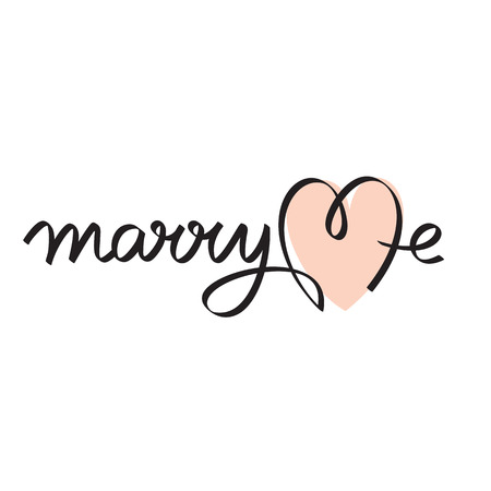 marry me wedding hand lettering handmade calligraphy Vector