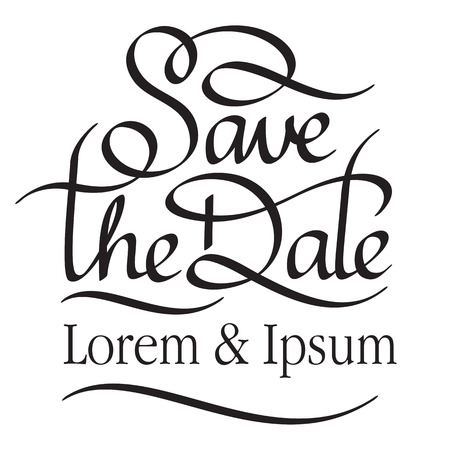 save the date hand lettering handmade calligraphy Vectores