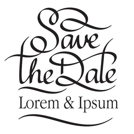 sparen de datum hand belettering handgemaakte kalligrafie