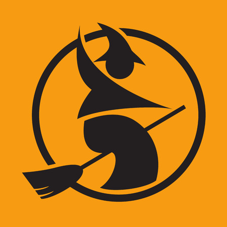 witch silhouette: halloween pictogram
