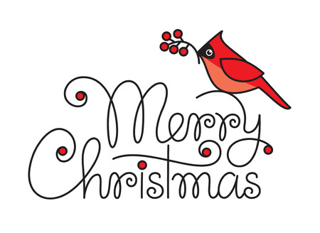 Merry christmas hand lettering with red robin bird and branch Vector