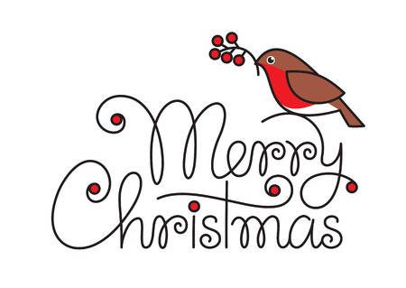 robin bird: Merry christmas hand lettering with bullfinch and branch Illustration