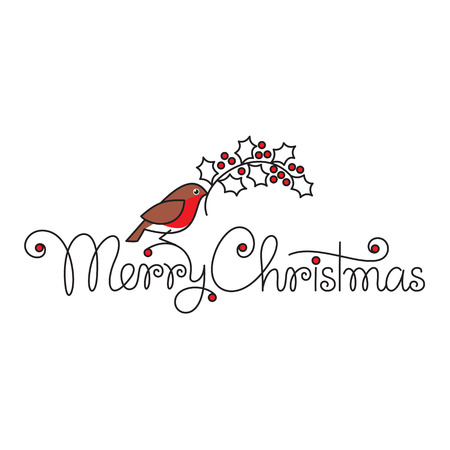 christmas robin: Merry christmas hand lettering with bullfinch and branch Illustration