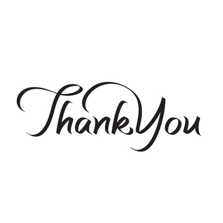 thank you hand lettering, text, handmade calligraphy, vector illustration