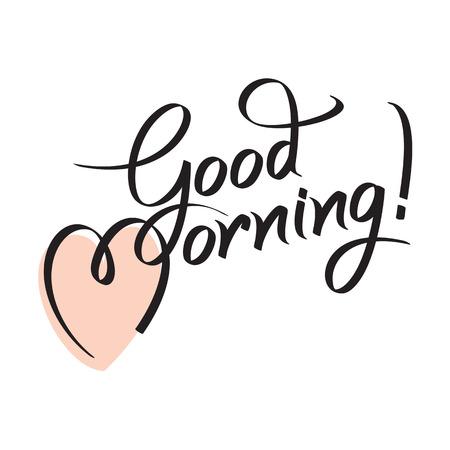 dobr�: Dobré ráno, ruční písmo textu, ruční kaligrafie, vektorové ilustrace