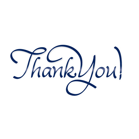 thank you hand lettering - text; handmade calligraphy; vector illustration
