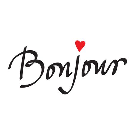 hello heart: bonjour card or poster Lettering Illustration