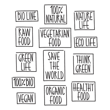 healthy foods: Collection Vector Organic Food, Eco, Bio Labels and Elements. Design elements for Food and Drink.