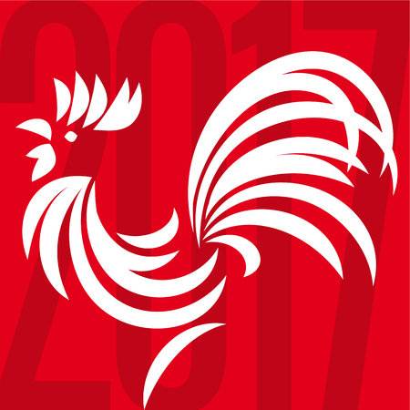 cockscomb: Happy Chinese New Year 2017, hand painted Rooster Illustration