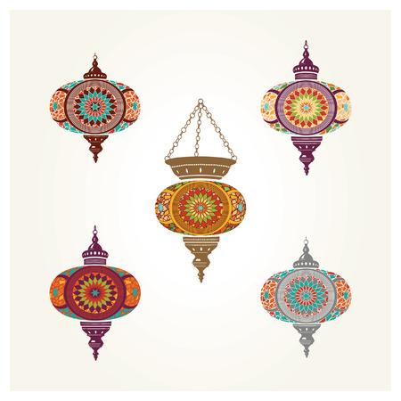 Set of Turkish Lantern Vector Drawings Stock Vector - 82051009