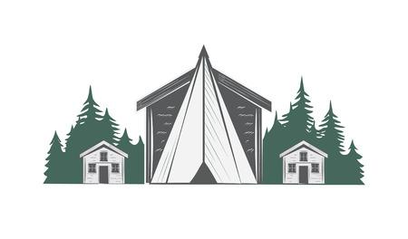 Camping vector drawing.