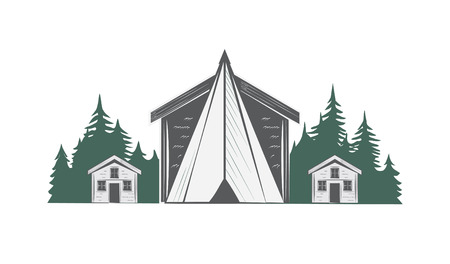 Camping vector drawing.