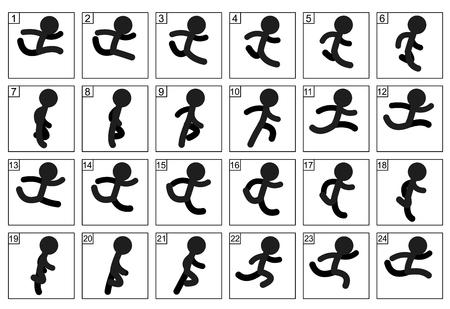 Stick man Run Cycle animation sequence vector illustration Illustration