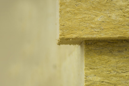 glasswool: Basalt wool as thermal insulation Stock Photo