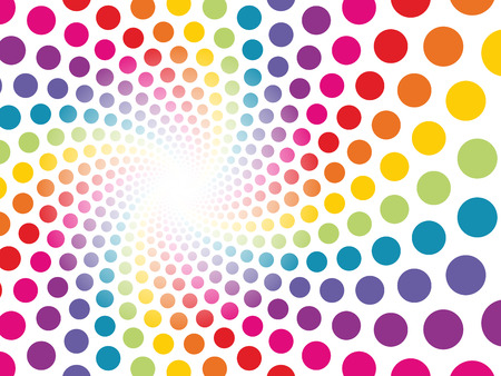 be lost: circular background made up of colored dots to be lost