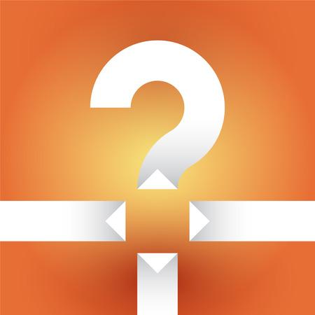 question mark: wei�es Fragezeichen auf einem orangefarbenen Hintergrund mit Pfeilen