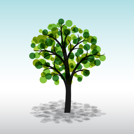 Colorful green tree on a light background Vector