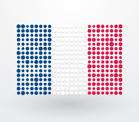 french flag: French flag made up of dots Illustration
