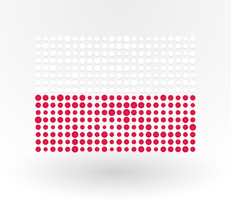 Poland flag made ​​up of dots Vector