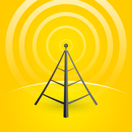mast cell: construction of a transmitter on a yellow background with waves