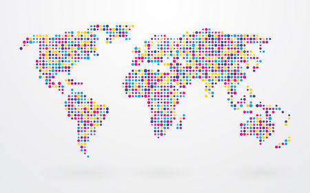world map made up of small colorful dots