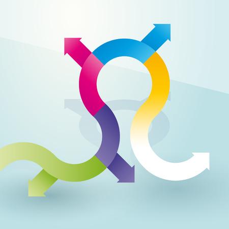 zigzag path of colored arrows Vector