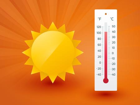 Die gelbe Sonne mit Thermometer Standard-Bild - 30218650