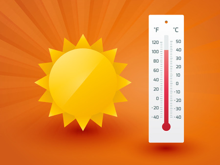 termómetro: El sol amarillo con el termómetro Vectores