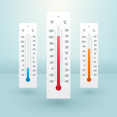 temperature: three thermometers with different temperatures