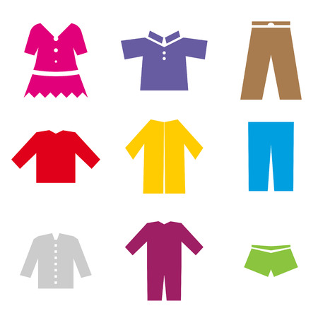 set of colorful icons of different clothes Vector