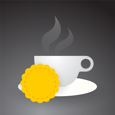 cup of hot coffee on an empty yellow label Vector