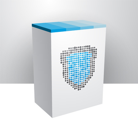 White box with blue shield Vector