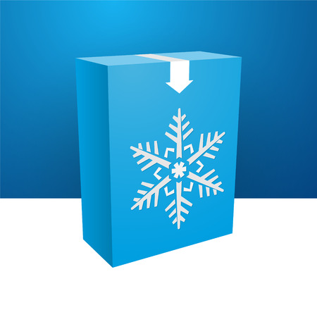 blue boxe with white snowflakes Vector
