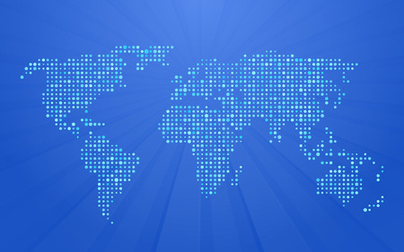dotted world map: world map made up of small polka dots on blue background with rays