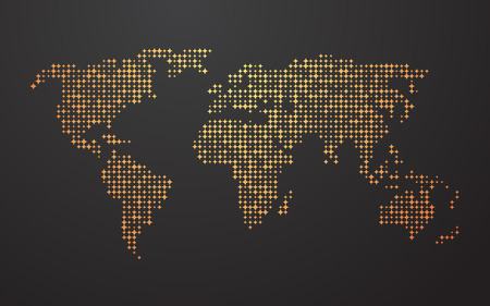 vector raster background: world map made up of the yellow orange shapes